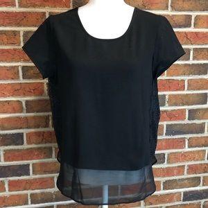 NWT Ann Taylor LOFT Black Lace Top Size M